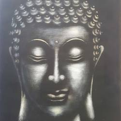 meditating buddha, 18 x 24 inch, veer  patel,paintings,buddha paintings,canvas,oil,18x24inch,religious,peace,meditation,meditating,gautam,goutam,black and white,thinking,GAL0579913873