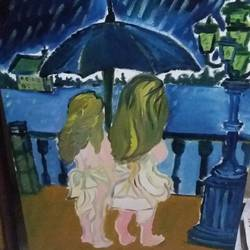the  sisters, 20 x 30 inch, sujeer lukose,figurative paintings,paintings for bedroom,canvas,oil,20x30inch,GAL05661388