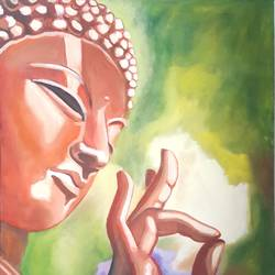 peace, 18 x 24 inch, veer  patel,paintings,buddha paintings,canvas,oil,18x24inch,religious,peace,meditation,meditating,gautam,goutam,red,blessing,GAL0579913880
