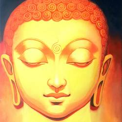 religious buddha, 18 x 24 inch, veer  patel,buddha paintings,canvas,oil,18x24inch,peace,meditation,meditating,gautam,goutam,orange,religious,GAL0579913883