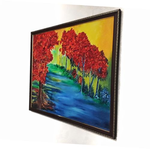 when trees were sunkissed, 30 x 24 inch, sebastian joseph,paintings,flower paintings,landscape paintings,paintings for living room,paintings for bedroom,paintings for hotel,paintings for living room,paintings for bedroom,paintings for hotel,canvas,oil,30x24inch,GAL0580813886
