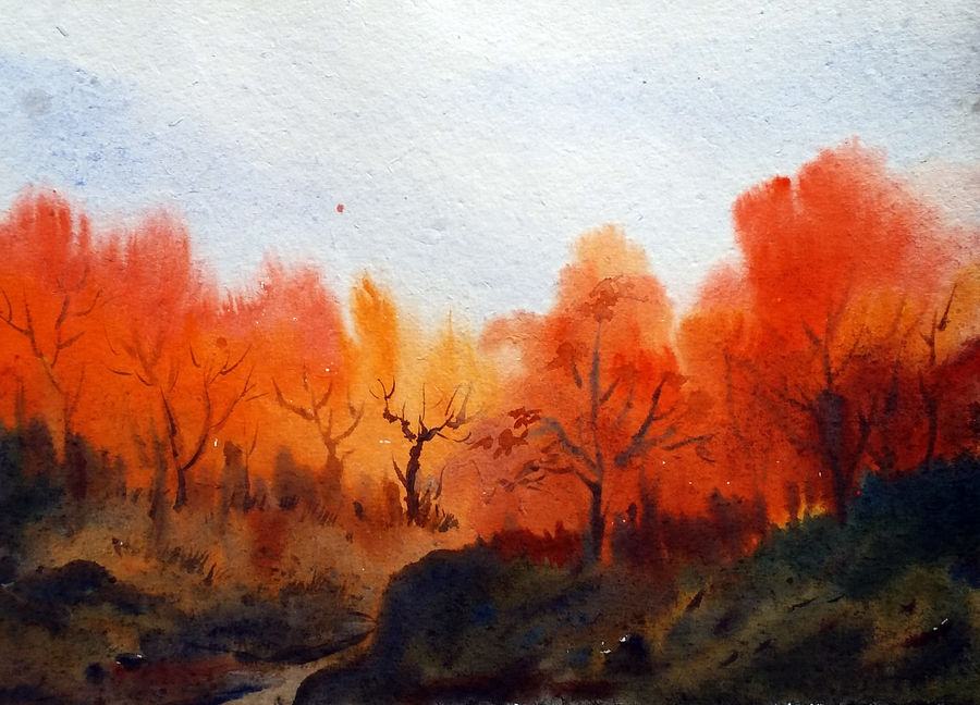 beauty of autumn forest, 16 x 12 inch, samiran sarkar,flower paintings,landscape paintings,nature paintings,photorealism paintings,realism paintings,paintings for dining room,paintings for living room,paintings for bedroom,paintings for office,paintings for hotel,paintings for hospital,handmade paper,watercolor,16x12inch,GAL0574913888Nature,environment,Beauty,scenery,greenery