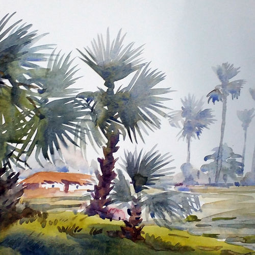paim trees & rural village, 14 x 10 inch, samiran sarkar,paintings,landscape paintings,realism paintings,contemporary paintings,paintings for dining room,paintings for living room,paintings for bedroom,paintings for office,paintings for hotel,paintings for kitchen,paintings for school,paintings for hospital,paper,watercolor,14x10inch,GAL0574913889