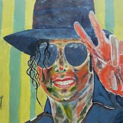 mj, 14 x 18 inch, vishal dharmani,pop art paintings,paintings for living room,canvas,acrylic color,14x18inch,GAL05691389
