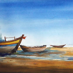 monsoon seashore & fishing boats, 22 x 11 inch, samiran sarkar,paintings,landscape paintings,nature paintings,photorealism,realism paintings,water fountain paintings,paintings for dining room,paintings for living room,paintings for bedroom,paintings for office,paintings for hotel,paintings for kitchen,paintings for school,paintings for hospital,handmade paper,watercolor,22x11inch,GAL0574913890Nature,environment,Beauty,scenery,greenery