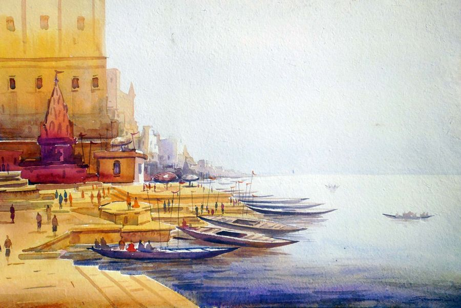 morning varanasi ghat, 22 x 11 inch, samiran sarkar,paintings,landscape paintings,religious paintings,nature paintings,realism paintings,contemporary paintings,paintings for dining room,paintings for living room,paintings for bedroom,paintings for office,paintings for hotel,paintings for school,paintings for hospital,thick paper,watercolor,22x11inch,GAL0574913891Nature,environment,Beauty,scenery,greenery