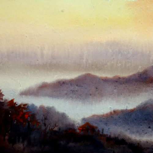 foggy evening himalaya, 16 x 12 inch, samiran sarkar,nature paintings,realism paintings,contemporary paintings,realistic paintings,paintings for dining room,paintings for living room,paintings for bedroom,paintings for office,paintings for hotel,paintings for kitchen,handmade paper,watercolor,16x12inch,GAL0574913893Nature,environment,Beauty,scenery,greenery
