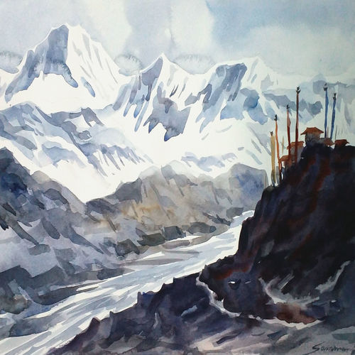 majestic himalayan peaks, 14 x 10 inch, samiran sarkar,paintings,landscape paintings,nature paintings,impressionist paintings,realism paintings,surrealist paintings,contemporary paintings,realistic paintings,paintings for dining room,paintings for living room,paintings for bedroom,paintings for office,paintings for hotel,paintings for school,paintings for hospital,paintings for dining room,paintings for living room,paintings for bedroom,paintings for office,paintings for hotel,paintings for school,paintings for hospital,canson paper,watercolor,14x10inch,GAL0574913899Nature,environment,Beauty,scenery,greenery
