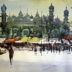 kolkata-tipu sultan tomb, 32 x 24 inch, sankar thakur,cityscape paintings,paintings for living room,fabriano sheet,watercolor,32x24inch,GAL07139