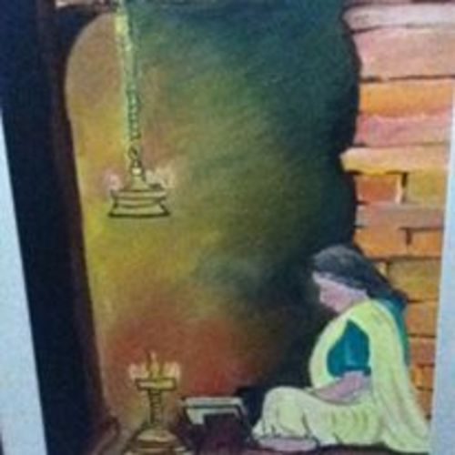 ladyreading ramayana, 22 x 30 inch, sujeer lukose,figurative paintings,paintings for living room,canvas,oil,22x30inch,GAL05661390