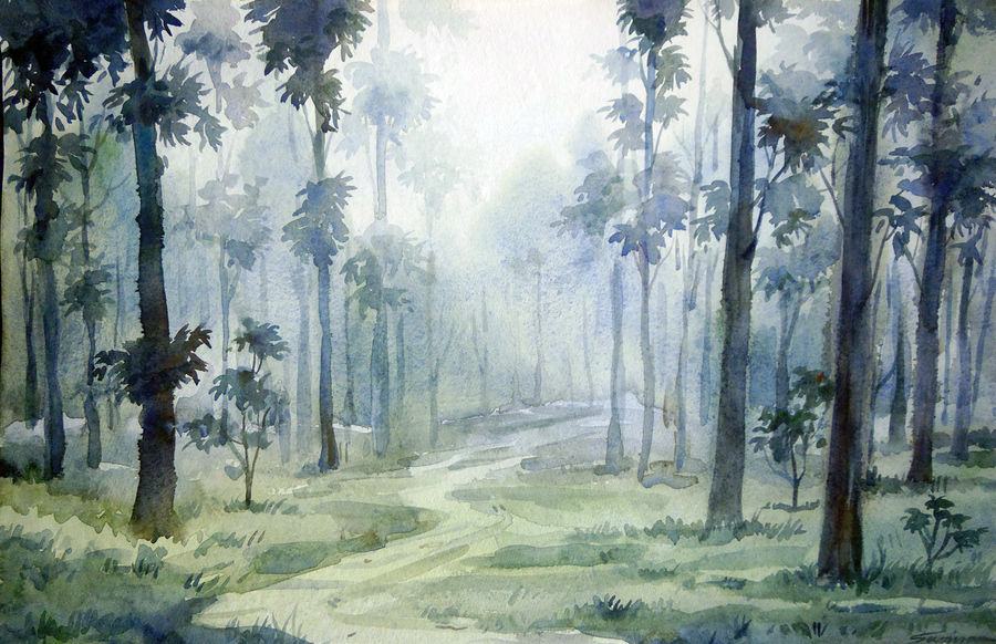misty forest, 23 x 11 inch, samiran sarkar,landscape paintings,art deco paintings,realism paintings,contemporary paintings,paintings for dining room,paintings for living room,paintings for bedroom,paintings for office,paintings for hotel,paintings for kitchen,handmade paper,watercolor,23x11inch,GAL0574913900