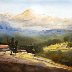 morning peaks & himalayan village, 14 x 10 inch, samiran sarkar,landscape paintings,nature paintings,realism paintings,contemporary paintings,realistic paintings,paintings for dining room,paintings for living room,paintings for bedroom,paintings for office,paintings for hotel,paintings for kitchen,fabriano sheet,watercolor,14x10inch,GAL0574913901Nature,environment,Beauty,scenery,greenery