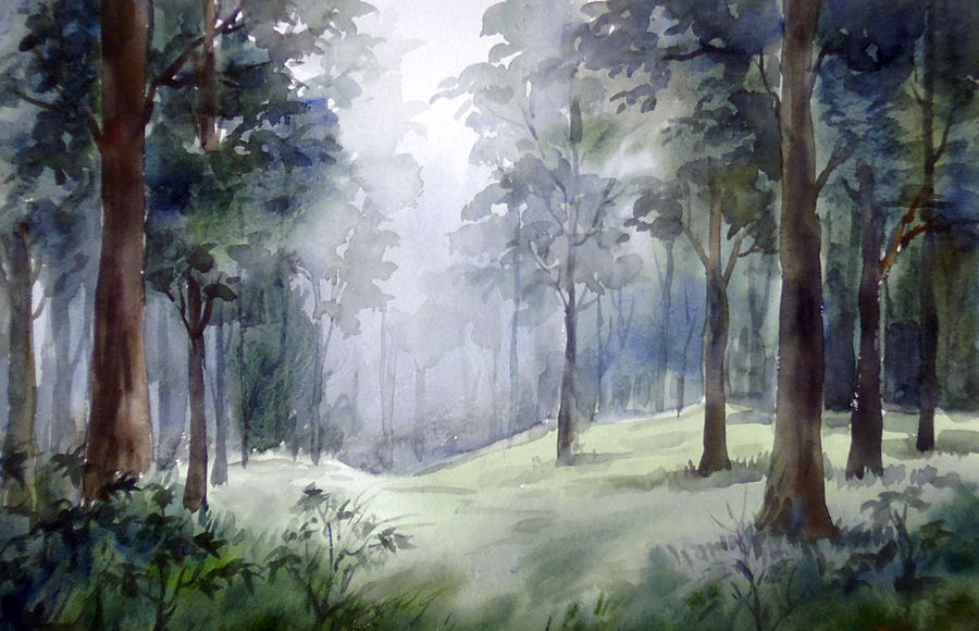 misty forest path, 22 x 11 inch, samiran sarkar,landscape paintings,nature paintings,photorealism paintings,realism paintings,contemporary paintings,realistic paintings,paintings for dining room,paintings for living room,paintings for bedroom,paintings for office,paintings for hotel,paintings for kitchen,paintings for hospital,handmade paper,watercolor,22x11inch,GAL0574913904Nature,environment,Beauty,scenery,greenery