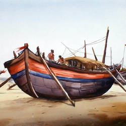 fishing boats, 22 x 11 inch, samiran sarkar,landscape paintings,nature paintings,impressionist paintings,realism paintings,contemporary paintings,realistic paintings,paintings for dining room,paintings for living room,paintings for bedroom,paintings for office,paintings for hotel,paintings for kitchen,paintings for hospital,handmade paper,watercolor,22x11inch,GAL0574913905Nature,environment,Beauty,scenery,greenery,fishing,people,net,boat,sand,water