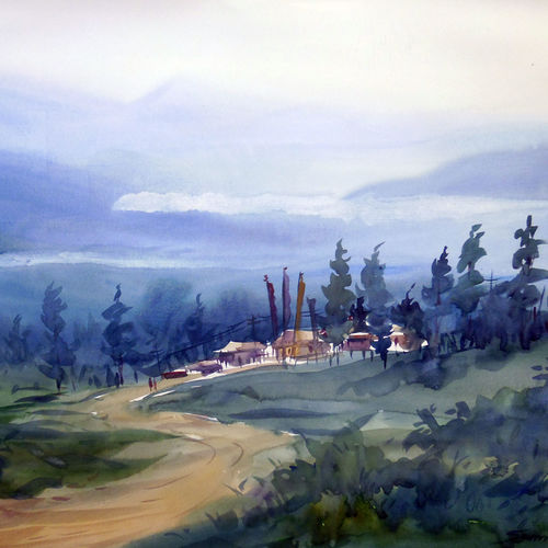mountain landscape, 24 x 20 inch, samiran sarkar,landscape paintings,conceptual paintings,nature paintings,photorealism paintings,realism paintings,contemporary paintings,paintings for dining room,paintings for living room,paintings for bedroom,paintings for office,paintings for kids room,paintings for hotel,paintings for hospital,thick paper,watercolor,24x20inch,GAL0574913906Nature,environment,Beauty,scenery,greenery