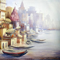 varanasi ghat at morning, 30 x 22 inch, samiran sarkar,cityscape paintings,landscape paintings,nature paintings,realism paintings,contemporary paintings,paintings for dining room,paintings for living room,paintings for bedroom,paintings for office,paintings for hotel,paintings for hospital,handmade paper,watercolor,30x22inch,GAL0574913907Nature,environment,Beauty,scenery,greenery