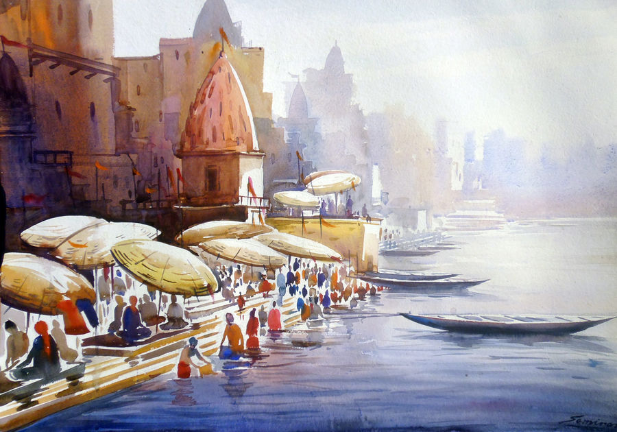morning varanasi ghat, 30 x 22 inch, samiran sarkar,cityscape paintings,landscape paintings,nature paintings,realism paintings,paintings for dining room,paintings for living room,paintings for bedroom,paintings for office,paintings for hotel,paintings for kitchen,handmade paper,watercolor,30x22inch,GAL0574913908Nature,environment,Beauty,scenery,greenery