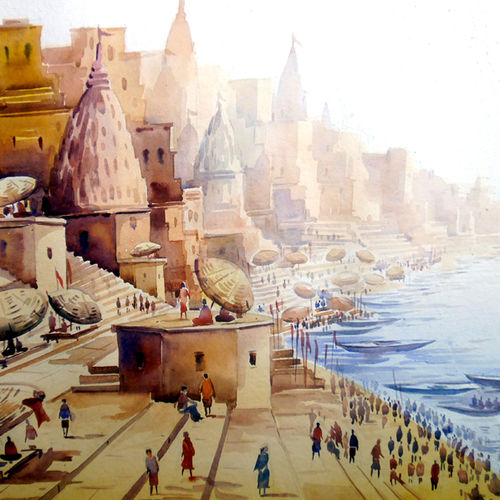 varanasi ghat from top view, 30 x 22 inch, samiran sarkar,cityscape paintings,landscape paintings,nature paintings,realism paintings,realistic paintings,paintings for dining room,paintings for living room,paintings for bedroom,paintings for office,paintings for hotel,handmade paper,watercolor,30x22inch,GAL0574913910Nature,environment,Beauty,scenery,greenery