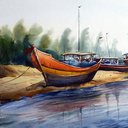 fishing boats at river side, 22 x 11 inch, samiran sarkar,landscape paintings,realism paintings,contemporary paintings,paintings for dining room,paintings for living room,paintings for bedroom,paintings for office,paintings for kids room,paintings for hotel,paintings for school,paintings for hospital,water fountain paintings,handmade paper,watercolor,22x11inch,GAL0574913911