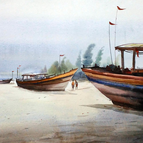 fishing boats on seashore, 22 x 11 inch, samiran sarkar,landscape paintings,nature paintings,realism paintings,contemporary paintings,realistic paintings,paintings for dining room,paintings for living room,paintings for bedroom,paintings for office,paintings for hotel,handmade paper,watercolor,22x11inch,GAL0574913912Nature,environment,Beauty,scenery,greenery