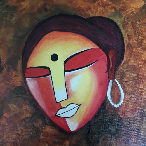 the silent lady, 12 x 16 inch, mrinalini pandey,paintings,abstract paintings,figurative paintings,modern art paintings,conceptual paintings,paintings for dining room,paintings for living room,paintings for office,paintings for hotel,paintings for dining room,paintings for living room,paintings for office,paintings for hotel,canvas,acrylic color,12x16inch,GAL0493013914