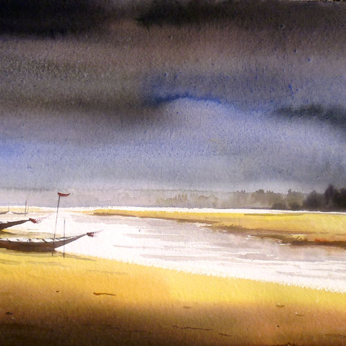 boats & monsoon river, 22 x 15 inch, samiran sarkar,landscape paintings,nature paintings,photorealism paintings,photorealism,realism paintings,contemporary paintings,paintings for dining room,paintings for living room,paintings for bedroom,paintings for office,paintings for kids room,paintings for hotel,paintings for kitchen,handmade paper,watercolor,22x15inch,GAL0574913915Nature,environment,Beauty,scenery,greenery