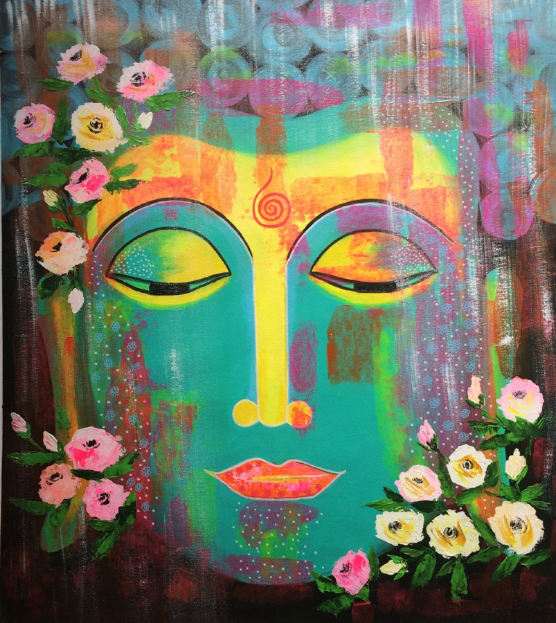 buddha - pop style, 27 x 30 inch, amita dand,paintings,buddha paintings,pop art paintings,paintings for dining room,paintings for living room,paintings for office,paintings for hotel,canvas,acrylic color,27x30inch,religious,peace,meditation,meditating,gautam,goutam,buddha,flowers,colorful,GAL0146713917