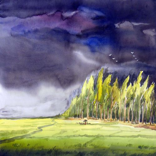 storm & forest corn field, 22 x 11 inch, samiran sarkar,landscape paintings,nature paintings,photorealism,realism paintings,contemporary paintings,paintings for dining room,paintings for living room,paintings for bedroom,paintings for office,paintings for hotel,paintings for dining room,paintings for living room,paintings for bedroom,paintings for office,paintings for hotel,thick paper,watercolor,22x11inch,GAL0574913918Nature,environment,Beauty,scenery,greenery