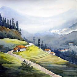 beauty of himalayan village landscape, 20 x 14 inch, samiran sarkar,landscape paintings,nature paintings,photorealism paintings,realism paintings,contemporary paintings,paintings for dining room,paintings for living room,paintings for bedroom,paintings for office,paintings for hotel,paintings for kitchen,thick paper,watercolor,20x14inch,GAL0574913920Nature,environment,Beauty,scenery,greenery