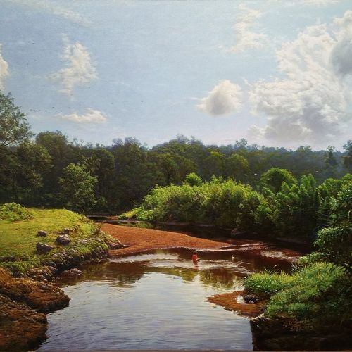 my village stream2, 30 x 22 inch, sanjay  sarfare ,paintings,landscape paintings,paintings for living room,paintings for bedroom,paintings for office,paintings for hotel,canvas,oil,30x22inch,GAL0160713924