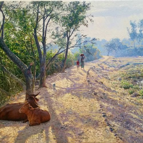 relaxing-pathside, 25 x 17 inch, sanjay  sarfare ,paintings,landscape paintings,paintings for dining room,paintings for living room,paintings for bedroom,paintings for office,paintings for hotel,paintings for school,canvas,oil,25x17inch,GAL0160713925