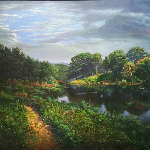 natinal park river, mumbai, 30 x 24 inch, sanjay  sarfare ,paintings,landscape paintings,paintings for dining room,paintings for living room,paintings for bedroom,paintings for office,paintings for hotel,canvas,oil,30x24inch,GAL0160713926