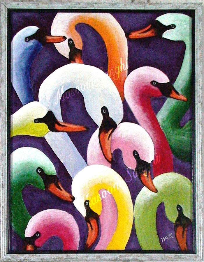 swans, 24 x 18 inch, masoom sanghi,abstract paintings,paintings for living room,paintings,canvas,acrylic color,24x18inch,GAL05721393