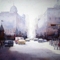 early morning street, 27 x 20 inch, samiran sarkar,cityscape paintings,realism paintings,contemporary paintings,paintings for dining room,paintings for living room,paintings for bedroom,paintings for office,paintings for kids room,paintings for hotel,paintings for kitchen,handmade paper,watercolor,27x20inch,GAL0574913937