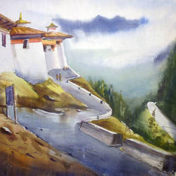 monastery and himalaya landscape, 30 x 22 inch, samiran sarkar,nature paintings,photorealism paintings,realism paintings,contemporary paintings,realistic paintings,paintings for dining room,paintings for living room,paintings for bedroom,paintings for office,paintings for hotel,paintings for kitchen,handmade paper,watercolor,30x22inch,GAL0574913938Nature,environment,Beauty,scenery,greenery