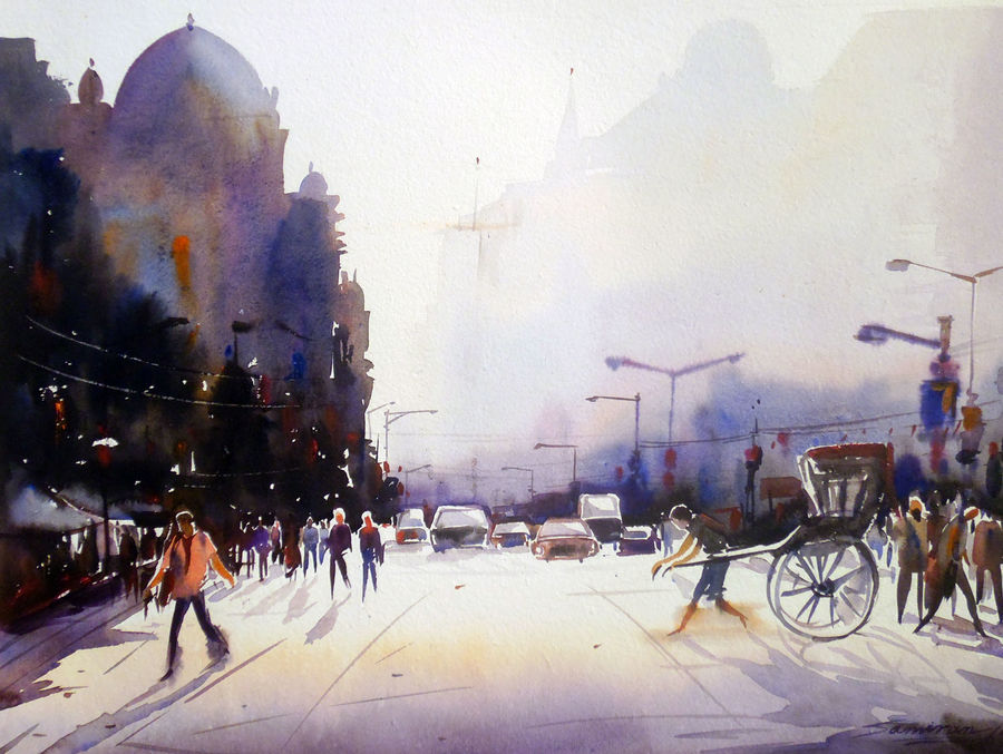 morning city street, 24 x 18 inch, samiran sarkar,cityscape paintings,nature paintings,realism paintings,contemporary paintings,paintings for dining room,paintings for living room,paintings for bedroom,paintings for office,paintings for hotel,paintings for kitchen,handmade paper,watercolor,24x18inch,GAL0574913939Nature,environment,Beauty,scenery,greenery