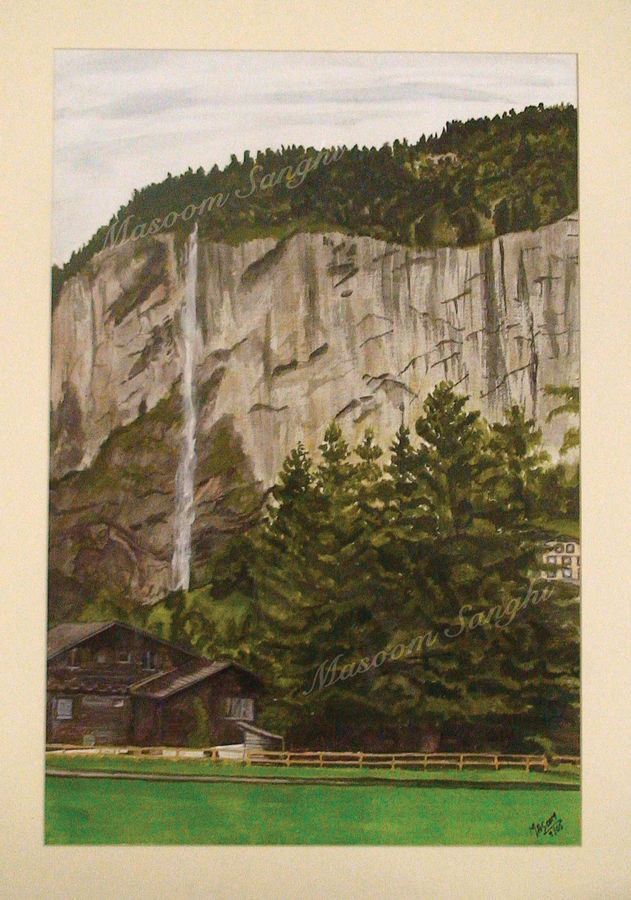 landscape of waterfall, 20 x 26 inch, masoom sanghi,landscape paintings,paintings for living room,thick paper,watercolor,20x26inch,GAL05721394