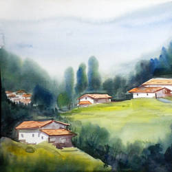 mountain village, 15 x 12 inch, samiran sarkar,nature paintings,realism paintings,contemporary paintings,paintings for dining room,paintings for living room,paintings for bedroom,paintings for office,paintings for hotel,paintings for kitchen,paintings for dining room,paintings for living room,paintings for bedroom,paintings for office,paintings for hotel,paintings for kitchen,thick paper,watercolor,15x12inch,GAL0574913940Nature,environment,Beauty,scenery,greenery