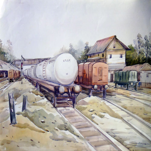 railway wagon, 30 x 22 inch, samiran sarkar,cityscape paintings,realism paintings,contemporary paintings,paintings for dining room,paintings for living room,paintings for office,paintings for hotel,thick paper,watercolor,30x22inch,GAL0574913941
