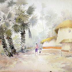 rural village of bengal, 30 x 22 inch, samiran sarkar,landscape paintings,nature paintings,photorealism,realism paintings,contemporary paintings,paintings for dining room,paintings for living room,paintings for bedroom,paintings for office,paintings for hotel,paintings for dining room,paintings for living room,paintings for bedroom,paintings for office,paintings for hotel,handmade paper,watercolor,30x22inch,GAL0574913942Nature,environment,Beauty,scenery,greenery