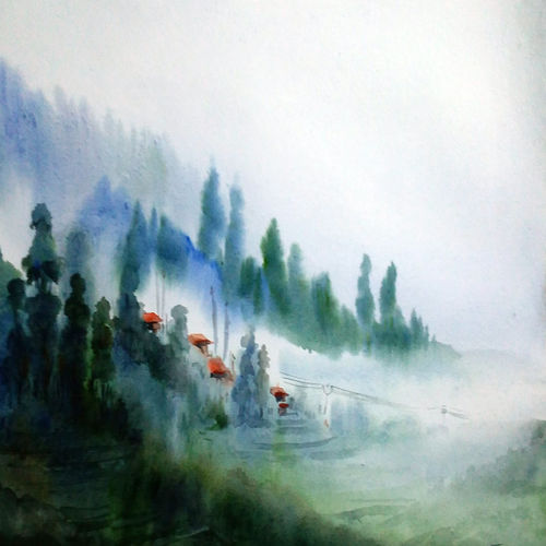 foggy misty himalaya, 22 x 14 inch, samiran sarkar,conceptual paintings,nature paintings,realism paintings,contemporary paintings,realistic paintings,paintings for dining room,paintings for living room,paintings for bedroom,paintings for office,paintings for hotel,paintings for kitchen,handmade paper,watercolor,22x14inch,GAL0574913943Nature,environment,Beauty,scenery,greenery