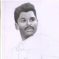 of allu arjun, 11 x 17 inch, arjun v nair,portrait drawings,thick paper,graphite pencil,11x17inch,GAL0560413947