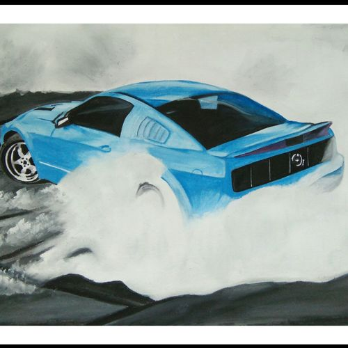 mustang burnout, 20 x 15 inch, amol desai,landscape paintings,paintings for bedroom,thick paper,poster color,20x15inch,GAL05751395