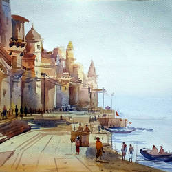 varanasi ghat at morning, 22 x 15 inch, samiran sarkar,cityscape paintings,landscape paintings,nature paintings,realism paintings,contemporary paintings,paintings for dining room,paintings for living room,paintings for bedroom,paintings for office,paintings for hotel,paintings for kitchen,fabriano sheet,watercolor,22x15inch,GAL0574913957Nature,environment,Beauty,scenery,greenery