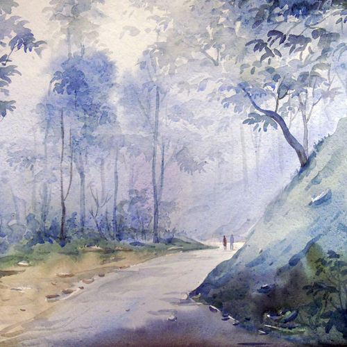himalayan misty forest, 22 x 11 inch, samiran sarkar,landscape paintings,conceptual paintings,nature paintings,impressionist paintings,realism paintings,realistic paintings,paintings for dining room,paintings for living room,paintings for bedroom,paintings for office,paintings for hotel,paintings for kitchen,handmade paper,watercolor,22x11inch,GAL0574913958Nature,environment,Beauty,scenery,greenery