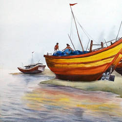 fishing boats at river side 2, 22 x 11 inch, samiran sarkar,landscape paintings,nature paintings,realism paintings,contemporary paintings,realistic paintings,paintings for dining room,paintings for living room,paintings for bedroom,paintings for office,paintings for kids room,paintings for hotel,paintings for kitchen,paintings for school,paintings for hospital,paintings for dining room,paintings for living room,paintings for bedroom,paintings for office,paintings for kids room,paintings for hotel,paintings for kitchen,paintings for school,paintings for hospital,water fountain paintings,handmade paper,watercolor,22x11inch,GAL0574913959Nature,environment,Beauty,scenery,greenery