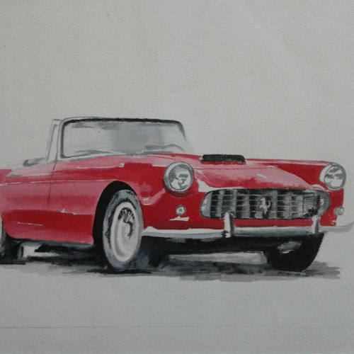 ferrari 250 gt, 12 x 10 inch, amol desai,street art,paintings for office,modern art paintings,renaissance watercolor paper,poster color,12x10inch,GAL05751396