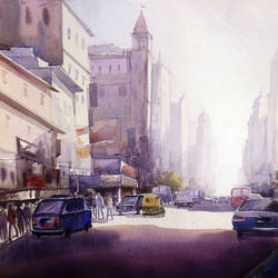 morning city light, 30 x 22 inch, samiran sarkar,cityscape paintings,nature paintings,realism paintings,contemporary paintings,realistic paintings,paintings for dining room,paintings for living room,paintings for bedroom,paintings for office,paintings for hotel,paintings for kitchen,handmade paper,watercolor,30x22inch,GAL0574913960Nature,environment,Beauty,scenery,greenery