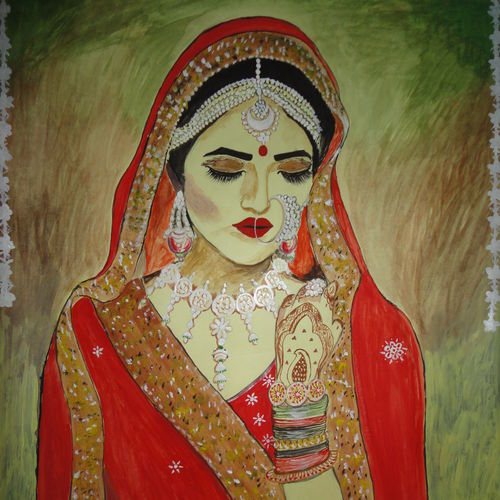 bride adorned with love, 22 x 28 inch, ranjita panda,paintings,figurative paintings,paintings for living room,paintings for bedroom,paper,poster color,22x28inch,GAL0583913964