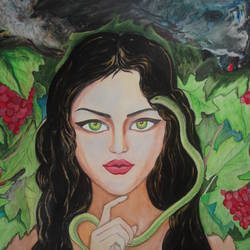 snake girl, 26 x 31 inch, ranjita panda,portraiture,paintings for living room,figurative paintings,modern art paintings,canvas,acrylic color,oil,26x31inch,GAL0583913965